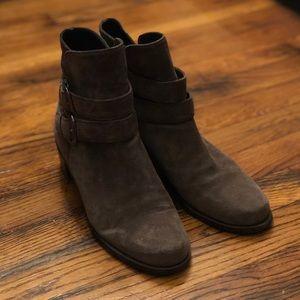 Stuart Weitzman brown suede buckle boots